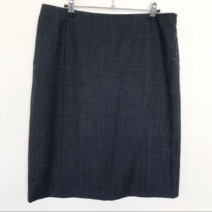 Theory Heathered Black Gray Wool Pencil Skirt